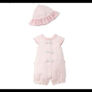 Little me baby girl romper and hat set NWT